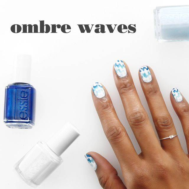 art sur ongles ombre waves