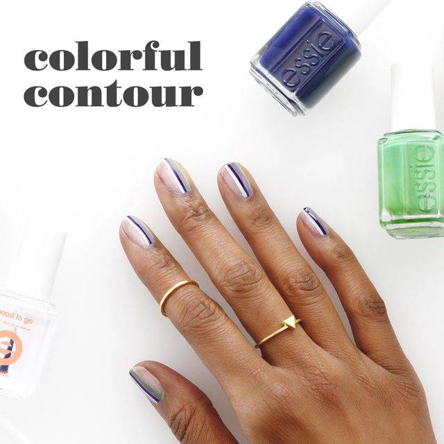 art sur ongles colorful contour